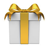 Gift box with gold ribbon bow Stock Photo