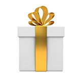 Gift box with gold ribbon bow isolated on white background Stock Photography