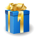 Gift box with gold ribbon Stock Images