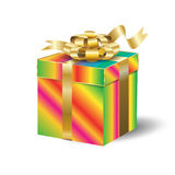 Gift box gold ribbon isolated Stock Images