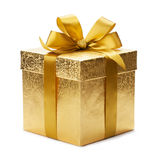 Gift box. And gold ribbon isolated on white background Royalty Free Stock Images
