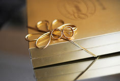 Gift box. With gold wedding rings Stock Images