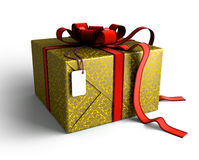 Gift box in gold wrapping Royalty Free Stock Image