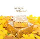 Gift box in gold wrapping paper with autumn leaves Stock Photo
