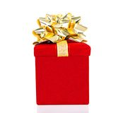 Gift Box With Golden Bow For All Occasions Stock Images