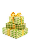 Gift box with golden bow isolated on white background Royalty Free Stock Photo