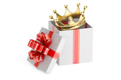 Gift box with golden crown, 3D rendering Royalty Free Stock Images