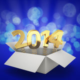 Surprising 2014. Gift box with golden digits 2014 on the blue background Stock Image