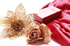 Gift box with Golden Flowers Royalty Free Stock Image