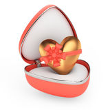 Gift box with golden heart. On white background. 3d render Royalty Free Stock Photo