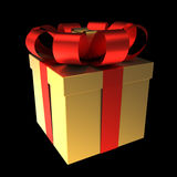 Gift Box Golden with Red Ribbon Royalty Free Stock Images