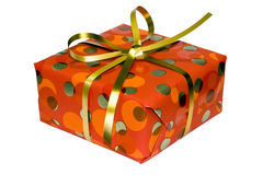Gift box with golden ribbon Royalty Free Stock Photo