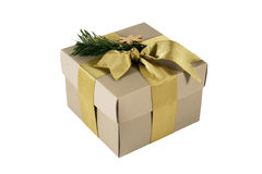 Gift box with golden ribbon. Isolated Stock Image