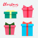 Gift box with golden ribbon and bow. Stock Images