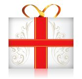 Gift box with golden ribbon bow Royalty Free Stock Photos