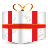 Gift box with golden ribbon bow Stock Photography