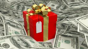 Gift box with golden ribbon set on Dollars. Banknotes pile, 3d rendering Royalty Free Stock Photography