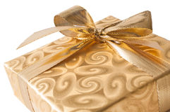 Gift box with golden ribbon Royalty Free Stock Images