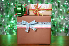 Gift box on green background Stock Image