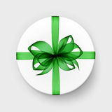 Gift Box with Green Bow and Ribbon Top View Isolated Royalty Free Stock Photos