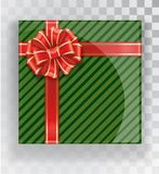 Gift Box. Green Christmas gift boxes  on a transparent background. Green box with a colorful elegant bow. Realistic vector object isolated Royalty Free Stock Images