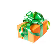 Gift box with green ribbon Royalty Free Stock Image