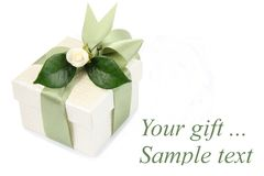 Gift box with green ribbon Royalty Free Stock Photography