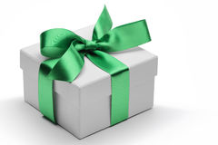 Gift box with green ribbon bow Stock Photo