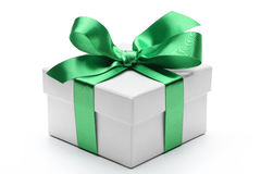 Gift box with green ribbon bow Stock Photography