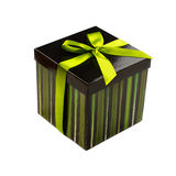 Gift box with green ribbon Royalty Free Stock Images