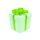 Gift box with a green satin bow. Isolated on white Stock Images