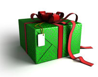 Gift box in green wrapping Royalty Free Stock Image