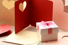 The gift box on greeting card for celebration events. Background Stock Images