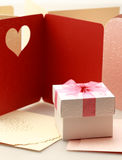 The gift box on greeting card for celebration events Stock Photography