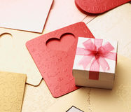 The gift box on greeting card for celebration events Stock Photo