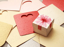 The gift box on greeting card for celebration events. Background Stock Image