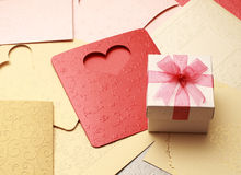 The gift box on greeting card for celebration events. Background Royalty Free Stock Image