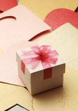 The gift box on greeting card for celebration events. Background Stock Photography