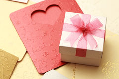 The gift box on greeting card for celebration events Stock Image