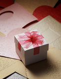 The gift box on greeting card for celebration events. Background Stock Photos