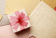The gift box on greeting card for celebration events Royalty Free Stock Photos