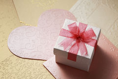 The gift box on greeting card for celebration events Royalty Free Stock Photography
