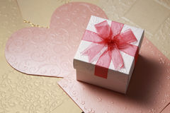 The gift box on greeting card for celebration events. Background Royalty Free Stock Photos