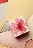 The gift box on greeting card for celebration events. Background Stock Photo