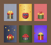 Gift box greeting card with present vector illustration. Royalty Free Stock Images