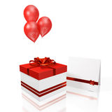 Gift Box Greeting Card and Red Balloon. A 3D illustration of gift box with red bow and ribbons with a blank greeting or invitation card and three red balloons Stock Photos