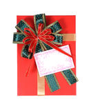 Gift box with greeting card. Stock Photography