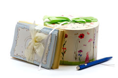 Gift box with greeting cards Royalty Free Stock Photography