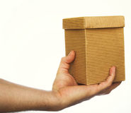 Gift box in hand Royalty Free Stock Photography