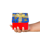 Gift box on hand boy holding isolated Royalty Free Stock Photos
